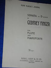 PARTITION sheet music de GODFREY FINGER sonata in D-MINOR flöte FLUTE pianoforte