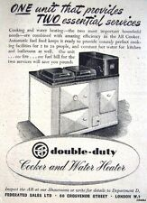 1940s 'AB Double-Duty' (Aga-type) Water Heater/Cooker Advert - Small Print Ad