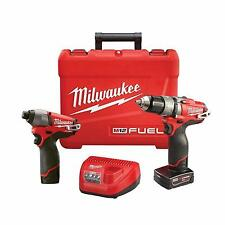 "Milwaukee M12 FUEL12V 2 Tool Combo Kit 1/2"" Hammer Drill & Impact Driver 2597-22"