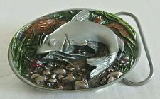 CAT FISH COLORFUL FISHING LURE LOG 3D BELT BUCKLE C&J INC.1986 MADE IN USA NEW
