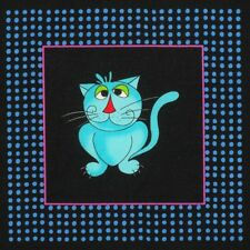 """Fancy Bright Cool Cat Kitten 4.75"""" x 5"""" Quilt Block Square Quilting Fabric"""