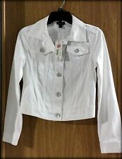 NWT a.n.a White Denim Jacket, Silver Metal Buttons Women's Junior's  Size XS