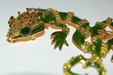 LUNCH AT THE RITZ LEAPIN LEOPARD LIZARDS OLIVINE BROOCH PIN PENDANT