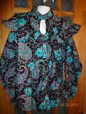NEW! Mine & Bill's Outfitters Black/Turquoise Vintage Look Shirt Size Large