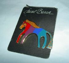 "Vintage LAUREL BURCH ""Caballo"" Horse Enamel Cloisonne Goldtone Pin Brooch NEW"