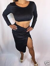 Connie's Faux Suede Black 2 piece Crop Top & Skirt w/ thigh high split  S/M