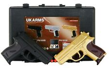 "CYMA Dual P618 GOLD Tactical Spring Airsoft Hand Guns w CASE - ""The Pea Shooter"""