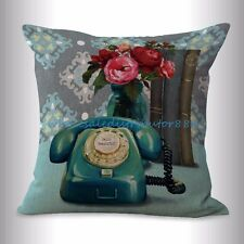 US SELLER- cheap white pillow  English vintage flower telephone cushion cover