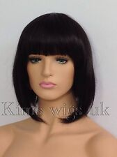 BLACK / DARK BROWN BOB STYLE SHORT LADIES WIG B38 #2 UK SELLER