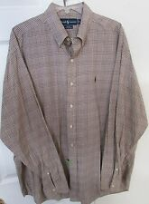 Polo Ralph Lauren Mens Long Sleeve Button Front Blake Shirt XL Brown Check