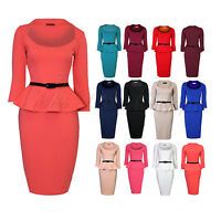 Womens Long Sleeve Belted Peplum Knee Length Frill Bodycon Dress
