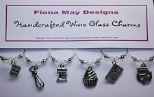 Wine Glass Charm Rings CAKE BAKING LOVERS set of 6 - with Swarovski Crystals