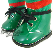 """Holiday Green Patent Ankle Winter Boots for 18"""" American Girl Doll Clothes"""