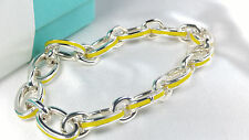 NEW Tiffany & Co. Yellow Enamel Oval Clasping Link Bracelet 7.5 MED Silver 925