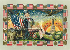 REPRINT PICTURE of old postcard 4TH OF JULY 1776 A uncle sam flag statue of 7x5