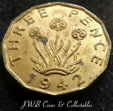 1942 George VI UK Brass Threepence Coin - Higher Grade..