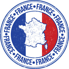"France Flag Europe Travel Rubber Car Bumper Sticker Decal 5"" x 5"""