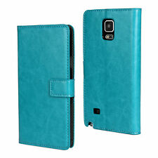 For Samsung Galaxy Note 4 Turquoise Leather Cash Card Wallet Case Cover Stand