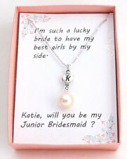Personalized Initial Pearl Heart Charm,Bridesmaid,Junior Bridesmaid Necklace