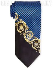VERSACE blue HOUNDSTOOTH gold Scroll MEDUSA head silk Twill MENS tie NWT Authent