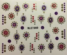Nail Art 3D Decal Stickers Floral Circles Oval Designs Purple Red Pink BLE738D