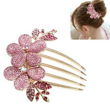 Rhinestone Charm Lady Girl Flower Pattern Alloy Barrette Hair Clip Comb LW