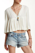 138431 New Free People Pleats On Me Cropped Swing Surplice Blouse Top Large L