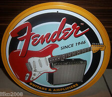 "FENDER GUITARS & AMPLIFIERS , ROUND 12""  WALL SIGN / STRATOCASTER, TWIN REVERB"