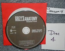 VG Blu Ray Replacement Disc # 4 Grey's Anatomy WS Fourth Season NOT set NO GSP