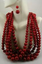 "Kenneth Jay Lane Multi Strand  Bead  Necklace 16""  3"" ext  & earring Set  RED"