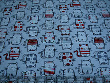 3 Yards Quilt Cotton Fabric - Timeless Treasures Fun Cats Red White Black Gray