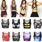 Women Crop Tank Tops Vest Bralet Bra Cartoon Printed Shirt Blouse Sports Bustier