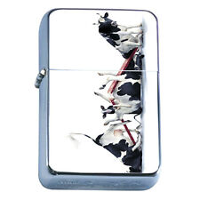 Windproof Refillable Flip Top Oil Lighter Funny Cow D3 Broken SeeSaw Bovine