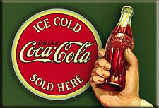DRINK ICE COLD Coca- Cola SOLD HERE 2 by 3 Inch  Miniature Sign Magnet Coke