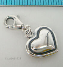 1x STERLING SILVER HEART CHARM PENDANT EUROPEAN LOBSTER CLIP ON CHARM #1826
