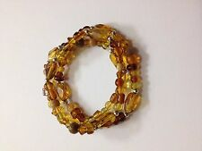 set of 3 Beautiful Brown glass bead stretch bracelets multi strand