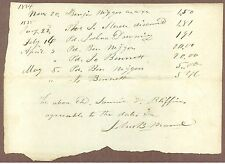 Bill, John B. Marvel, Fall River, MA, to Various, Paid by Samuel Bliffins,1834