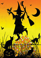 NEW LARGE TOLAND HALLOWEEN FLAG CANDY CORN WITCH 28 x 40 BLACK CATS & BATS