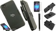 BLACK RUBBERIZED HARD CASE + BELT CLIP HOLSTER STAND FOR BLACKBERRY Z10 PHONE