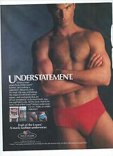 Fruit of the Loom 1986 Magazine Ad Red Briefs UNDERSTATEMENT Print Advertising