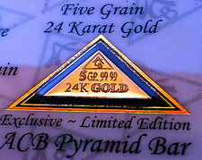 (X5) 24k 99.99 Fine Gold ACB 5Grain Pyramid bar with Certificate of Authenticity