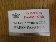 13/11/2010 Ticket: Exeter City v Notts County [Press Pass] With Clip Back . Bobf