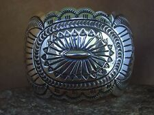 Navajo Indian Jewelry Handmade Sterling Silver Stamped Bracelet Carson Blackgoat