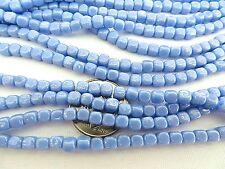 100 Light Blue Luster Czech Glass Cube Beads 4mm