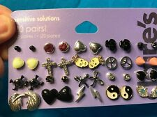 20 Pairs Of Claire's Pierced Earrings For Girls Crosses Hearts And More