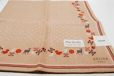New Celine Handkerchief 100% Cotton size 49cm Brown animals Scarf Pocket square