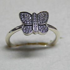 Authentic Pandora Ring Sparkling Butterfly 190938CZ Clear Size 52 Box Included