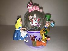 Disney Cheshire Cat Alice in Wonderland Spinning Tea Cup Snow Globe Mad Hatter