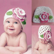 Creative Big Flower Baby Cap Newborn Toddler Girl Knit Crochet Beanie Hat