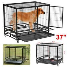 Heavy Duty Black 37'' Dog Crate Cage Kennel Metal Pet Playpen w/Tray Xmas Sale